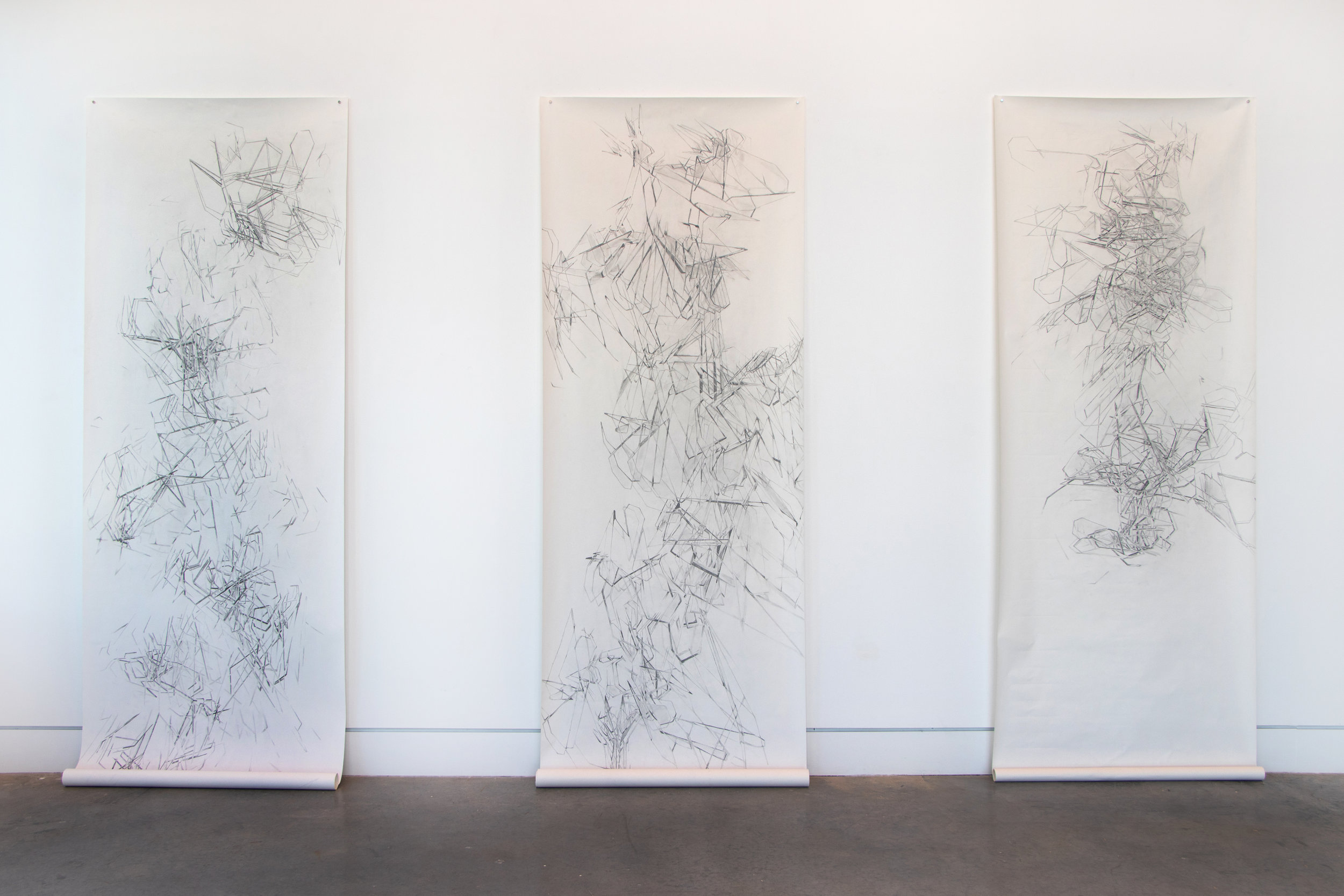 Filtered Conversations with Time  (2018) Graphite on Paper. 36 x 100 inches each.