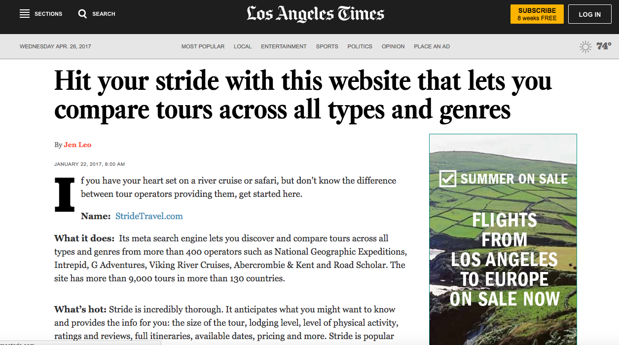 Stride Travel PR, LA Times
