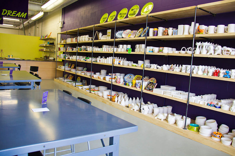 Plenty pottery and canvas to choose from