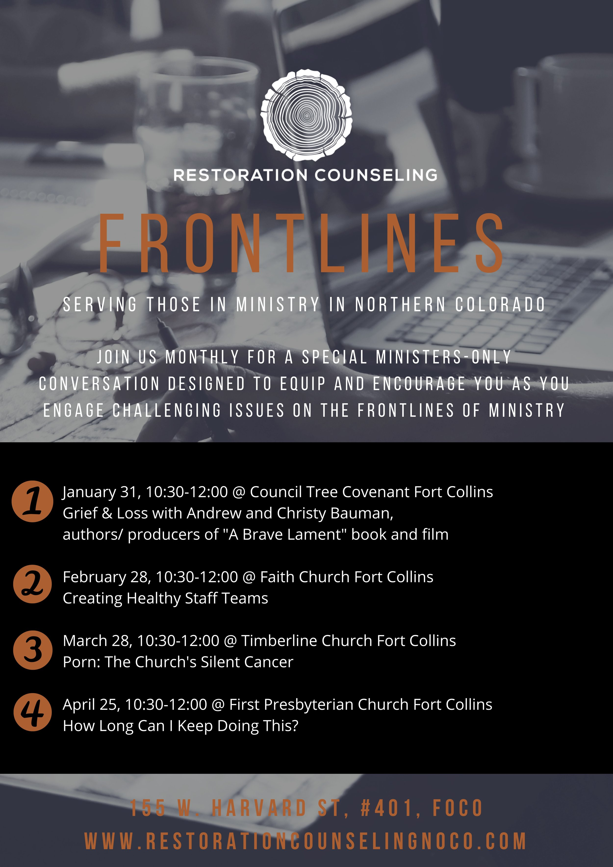 Winter '19 Frontlines  - Join us monthly for a special ministers-only conversation designed to equip and encourage you as you engage challenging issues on the frontlines of ministry.Feel free to click on the image to download the poster for your team.