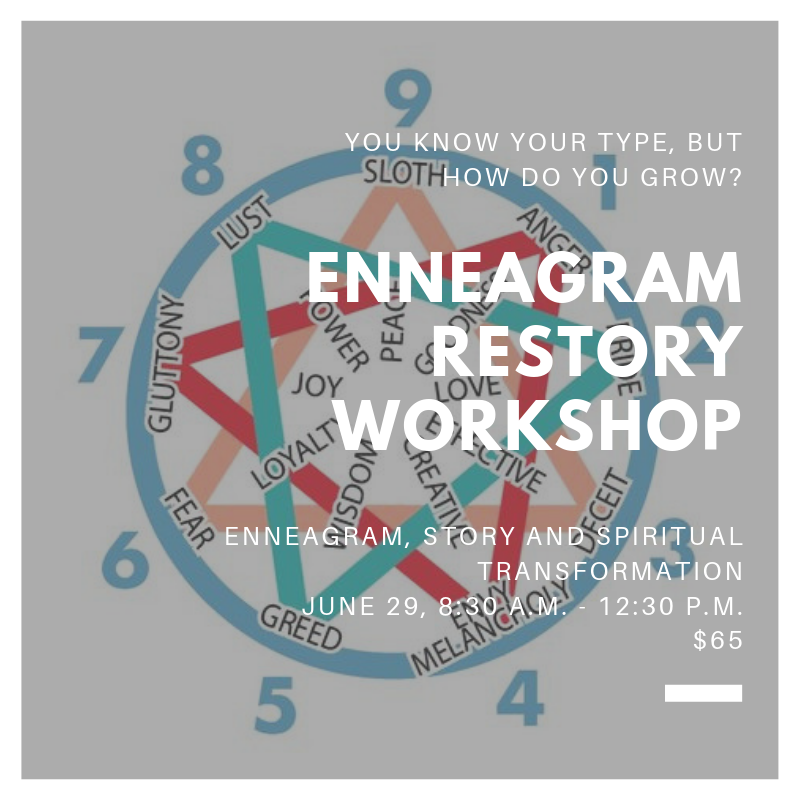 Enneagram ReStory Workshop - You know your type, but now what? Lisa Russell, our certified iEnneagram specialist, will invite you to explore how much deeper the Enneagram can take you towards spiritual formation.June 29, 8:30 a.m. - 12:30 p.m.$65