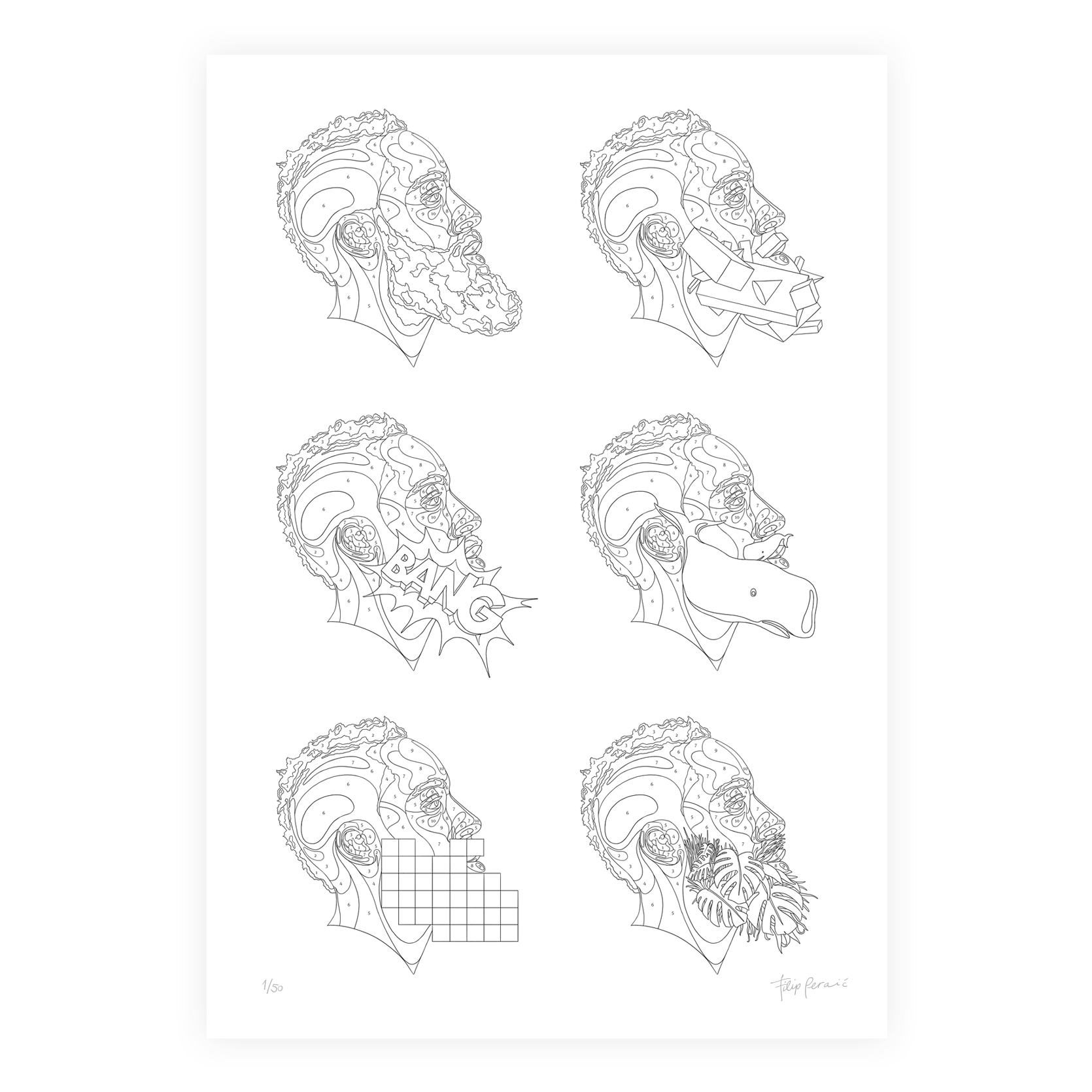 Coloring template with six beard designs