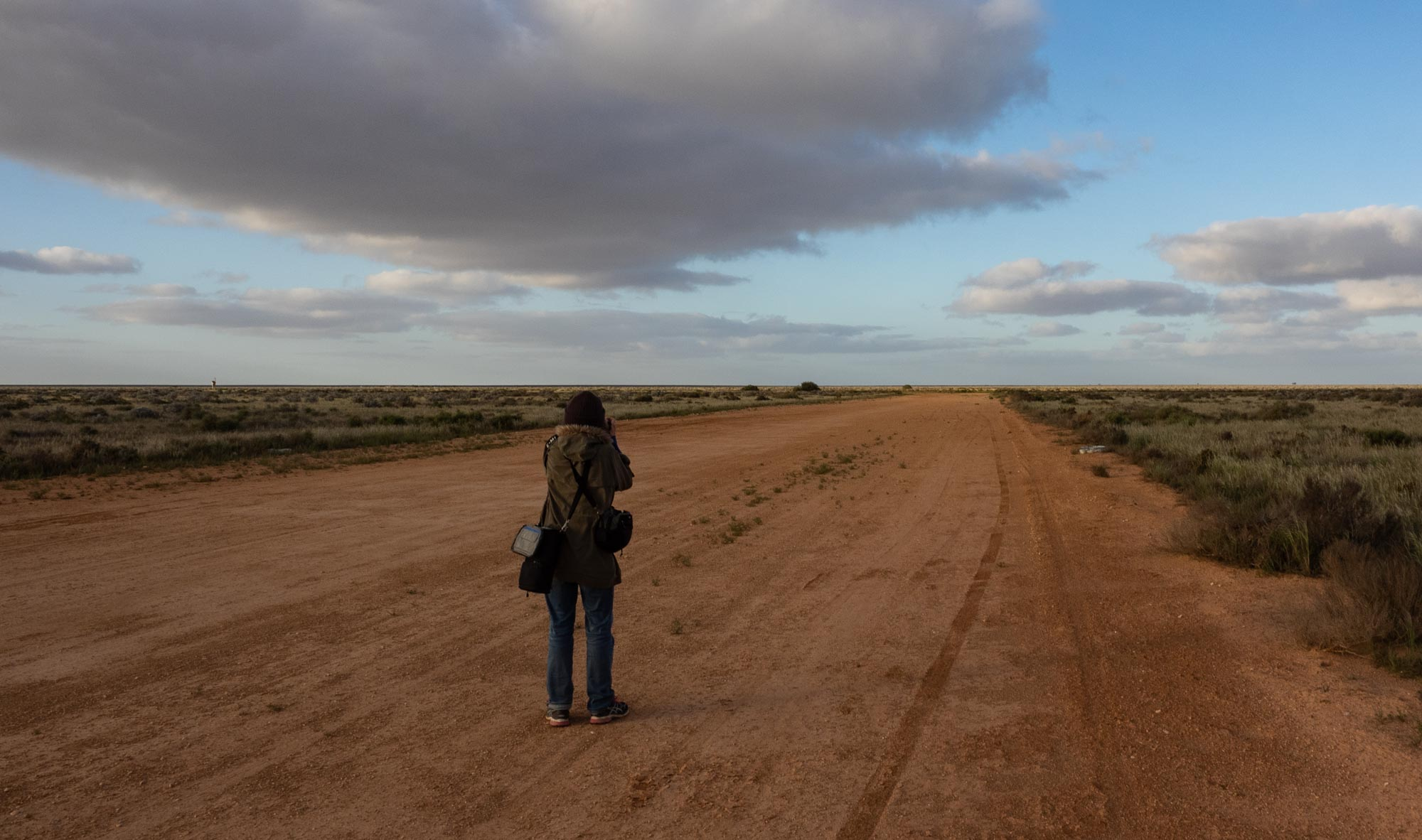 Kerri stalking her prey on the access road to the Nullarbor Airstrip. Perfect bird habitat!