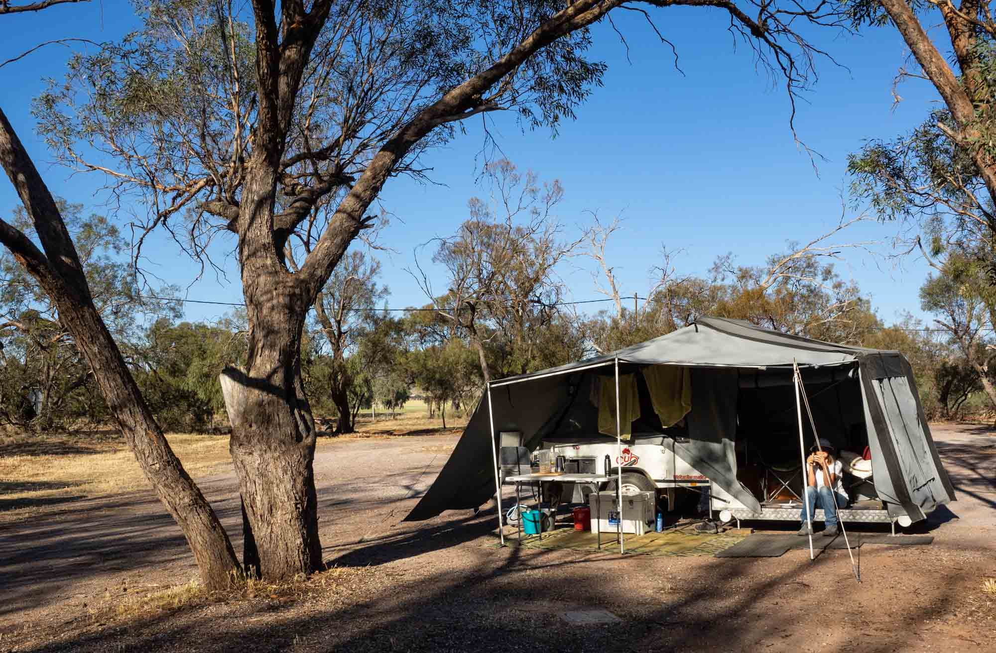 Almost like 'free camping' in the bush … but with power, toilets, and hot showers. Luxury!