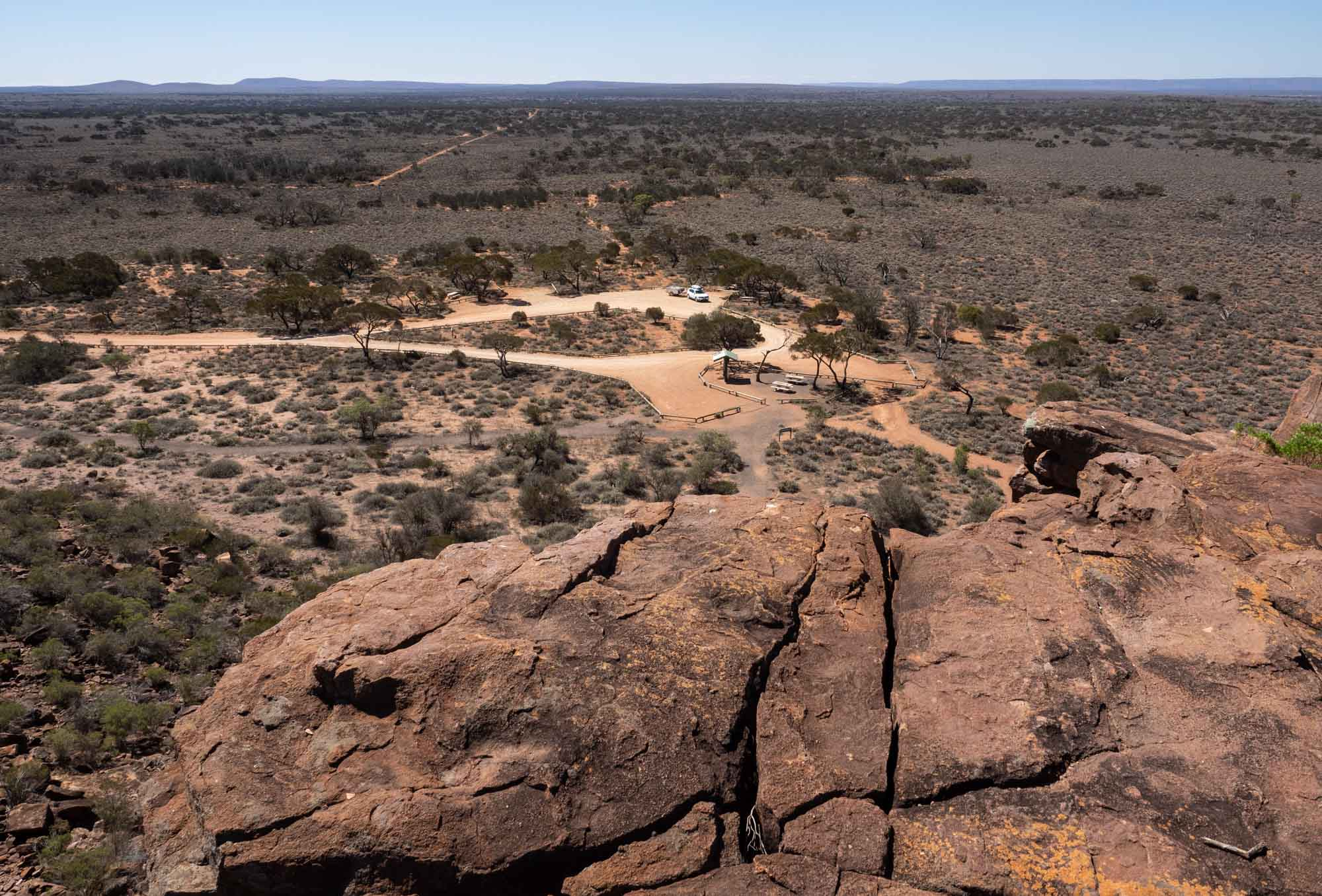 The view from atop Wild Dog Hill. That's our trusty little car down there, waiting for us in the baking heat.