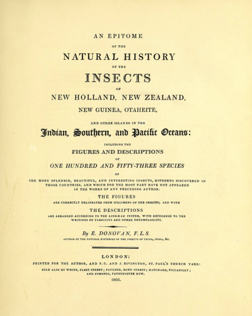 Title page from Donovan's 1805 publication, which includes the original description of  Coequosa triangularis  (although at the time he called it  Sphinx triangularis ). The complete work is  available online, open access.