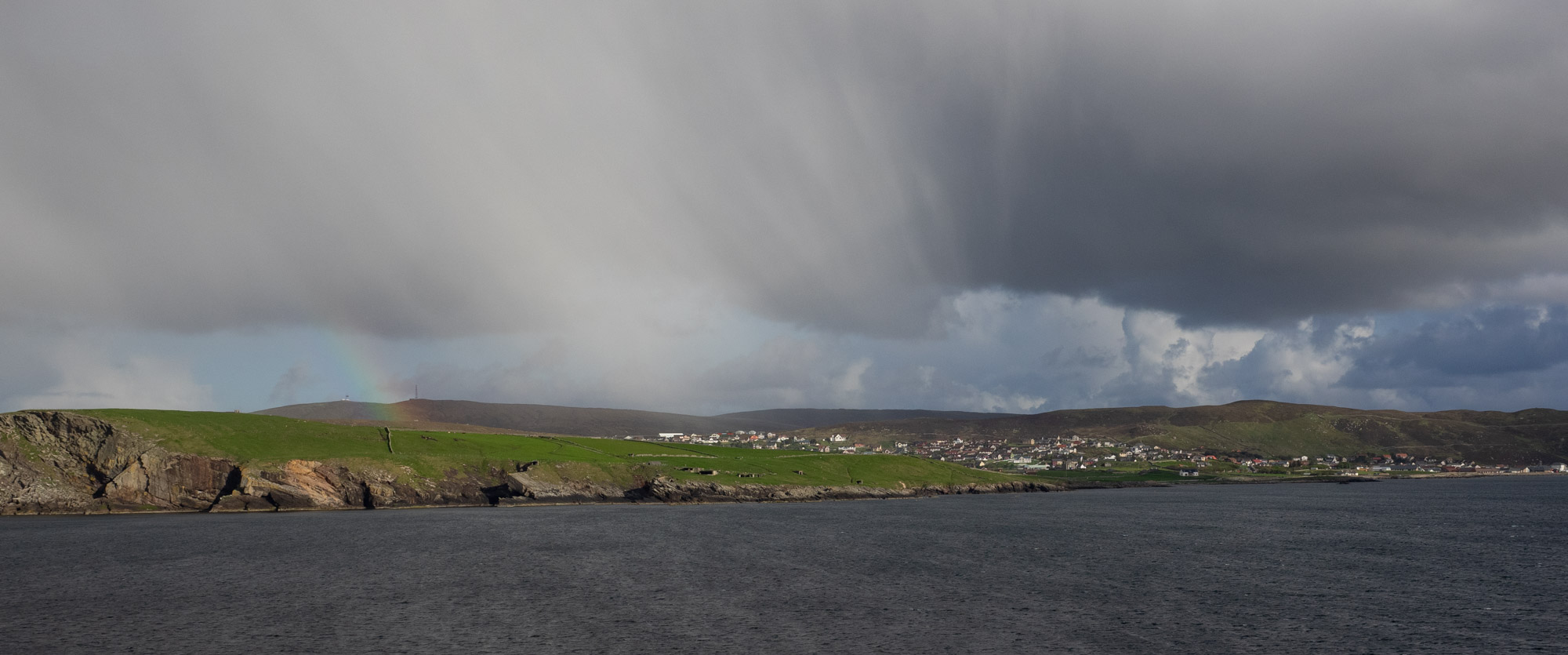 Arriving in Lerwick on the overnight ferry from Aberdeen. 7am, chilly, rain showers, and a spectacular skyscape.