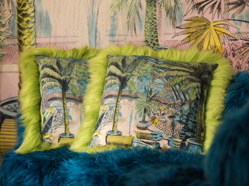 Cushions and scenic wallpapers