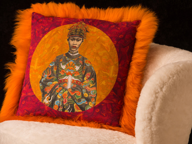 Fur and cotton-linen cushions