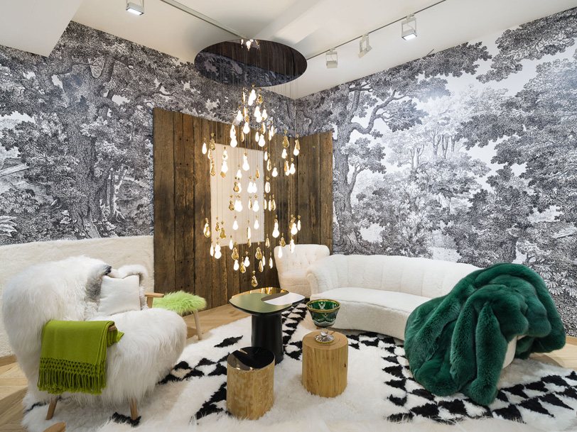 Upholstery fabric and scenic wallpapers