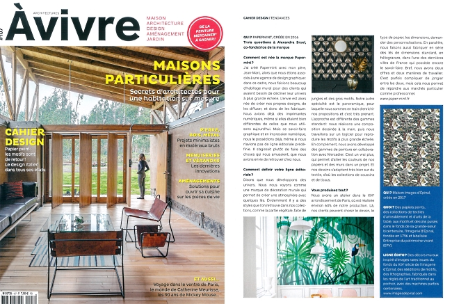 Magazine ARCHITECTURE A VIVRE (FRANCE) Avril 2019