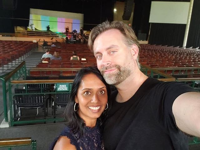 Quick photo during break with the sweet soprano, Gitanjali Mathur, singing #consideringmatthewshepard with @conspirareatx here at @raviniafestival
