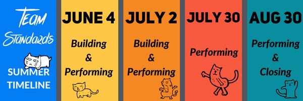 Summer 2017 timeline for Team Standards Surveys.