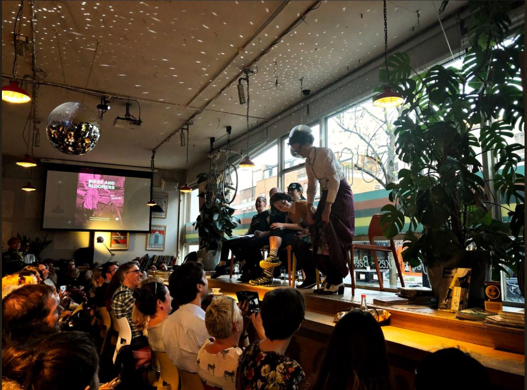 Book launch for Bikes & Bloomers, by Kat Jungnickel, at Look Mum, No Hands in Old St, London  Photo, used with permission, by Annaleena Piel Linnå @concledoc vimeo.com/annaleenapiellinna
