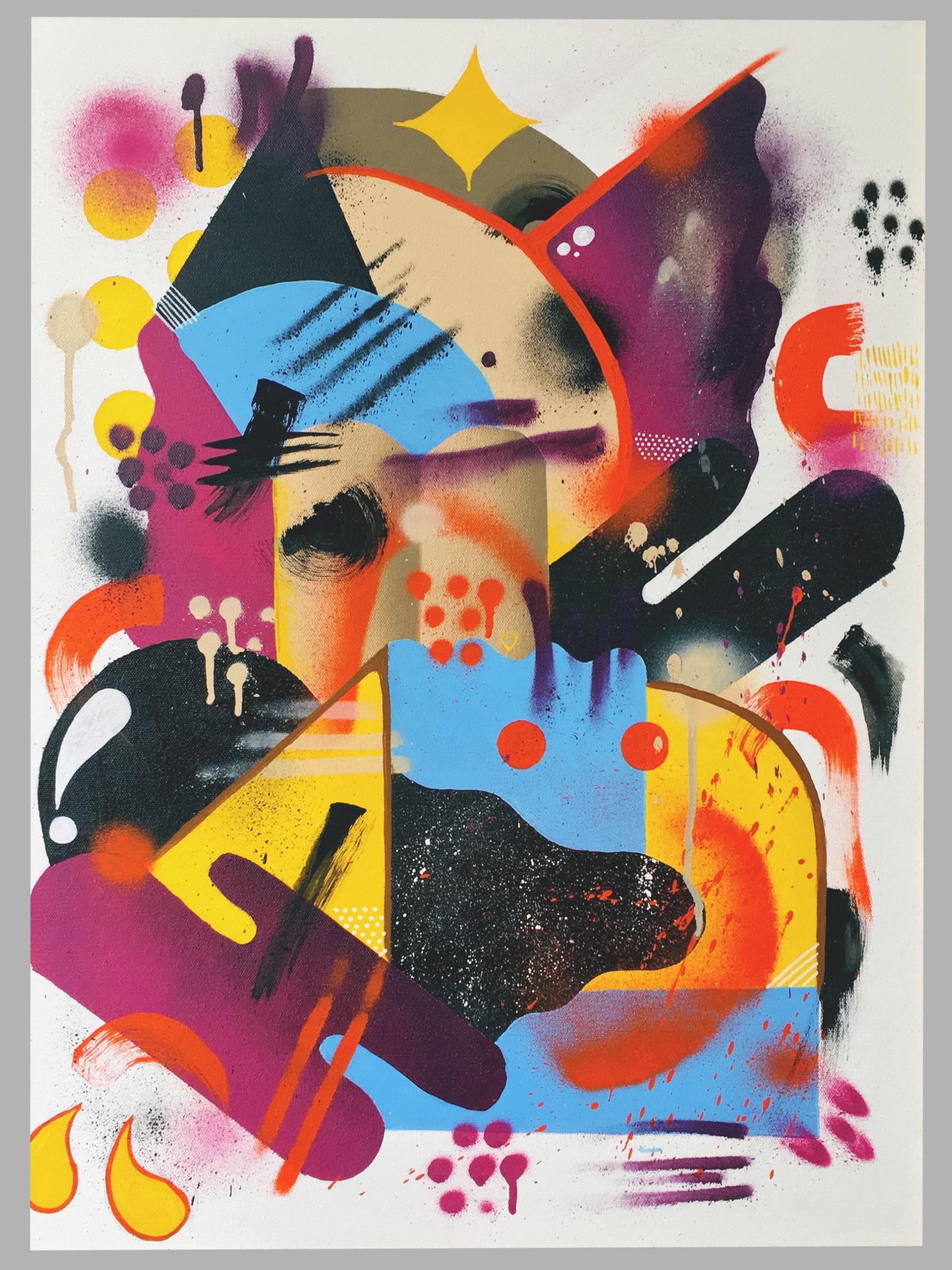 Sem Título, 2018  Tamanho: 60 x 80 cm  Técnica: Spray, tinta acrílica, marcador, bastão de tinta óleo sobre canvas.  R$ 450,00