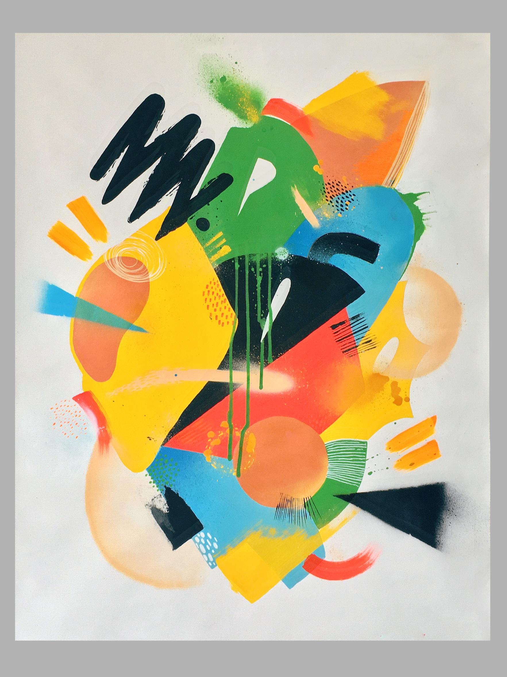 Sem Título, 2019  Tamanho: 63 x 63 cm  Técnica: Spray, tinta acrílica, marcador, canvas.   R$ 500,00