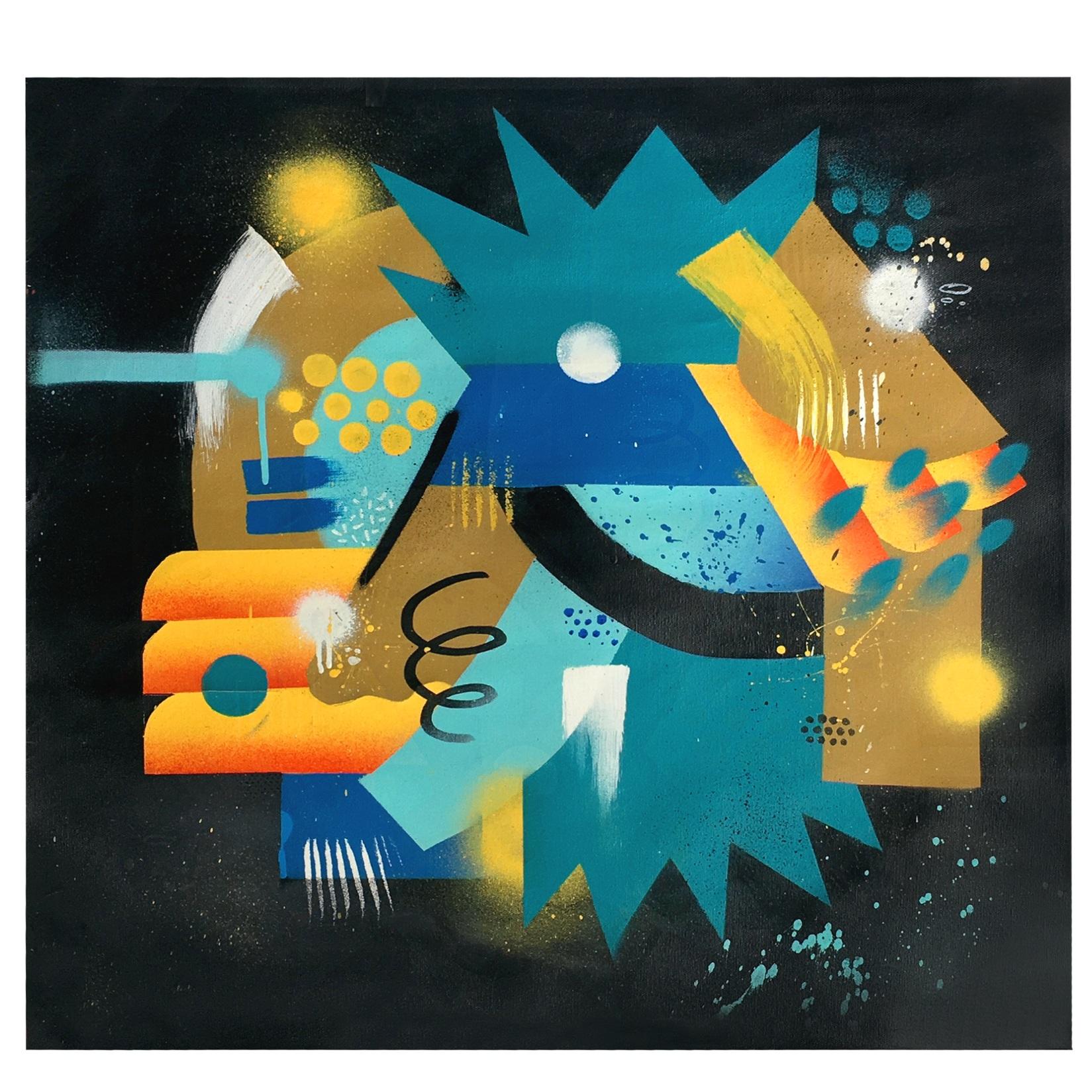 Sem Título, 2018  Tamanho: 50 x 70 cm  Técnica: Spray, tinta acrílica, marcador, sobre canvas.  R$ 350,00