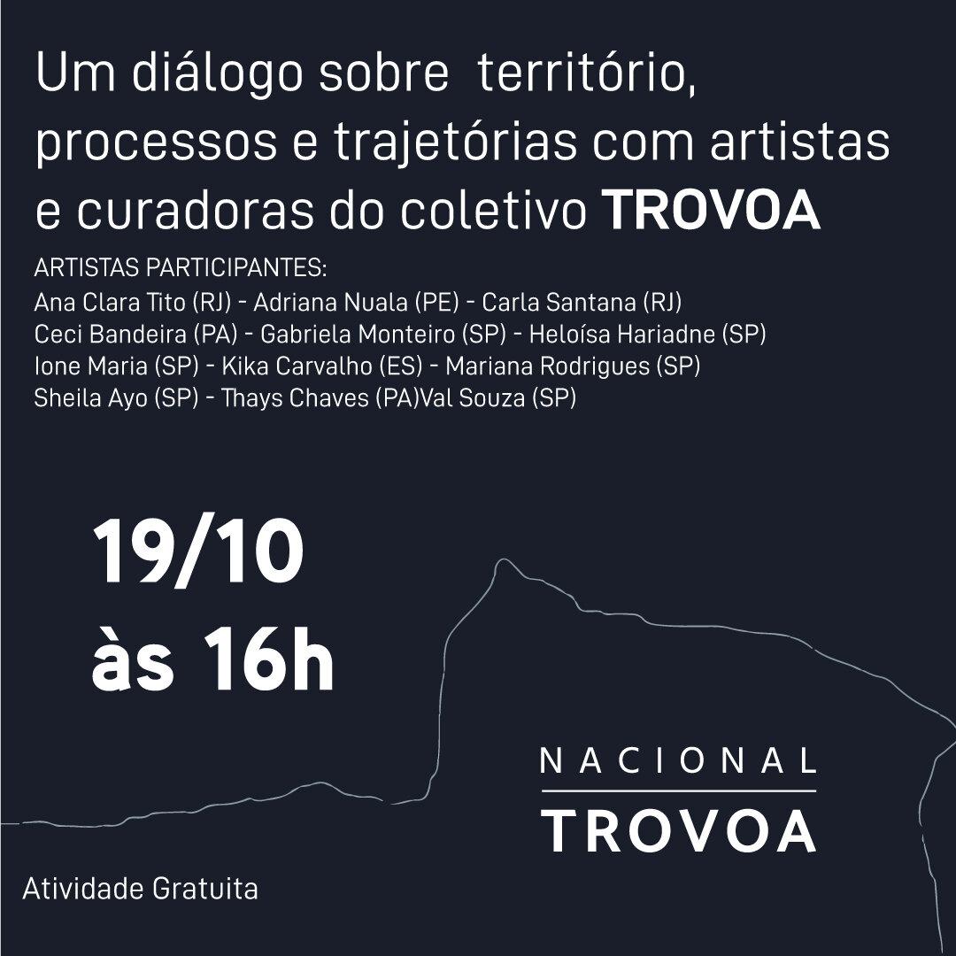TALK ARTE coletivo Trovoa - O Coletivo Trovoa existe e resiste para extrapolar o acesso elitizado da arte reconstruindo a subjetividade dela. No encontro, artistas de todo território nacional contarão suas trajetórias como artistas e curadoras.