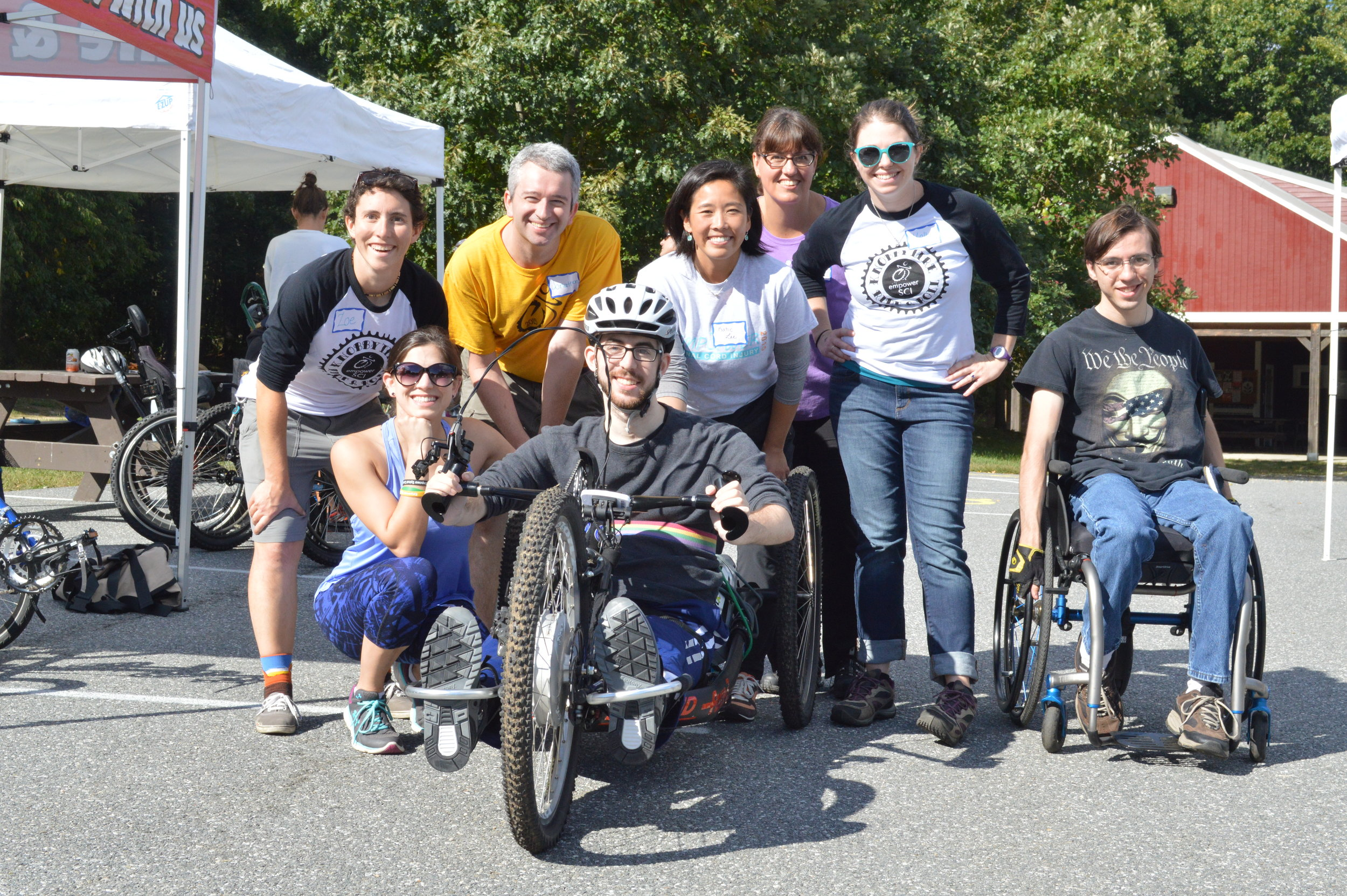 All ready to go!  Mike with his 2016 Knobby Tire volunteer team members Zoe, Jonathan, Katie Lee, and Kelly.