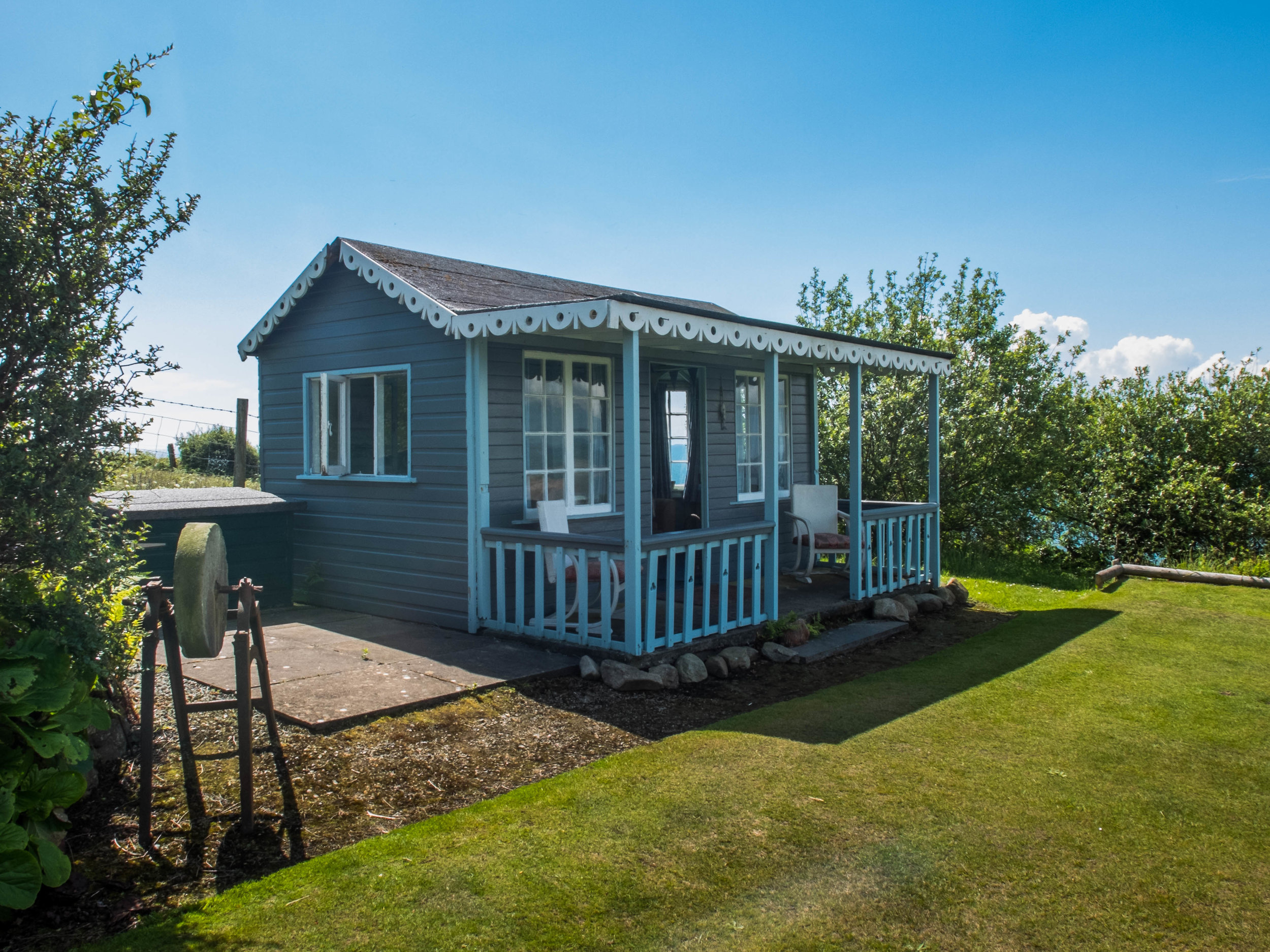 Our private hut with Sea views in the gardens of Hafod Wen, free to use for all guests