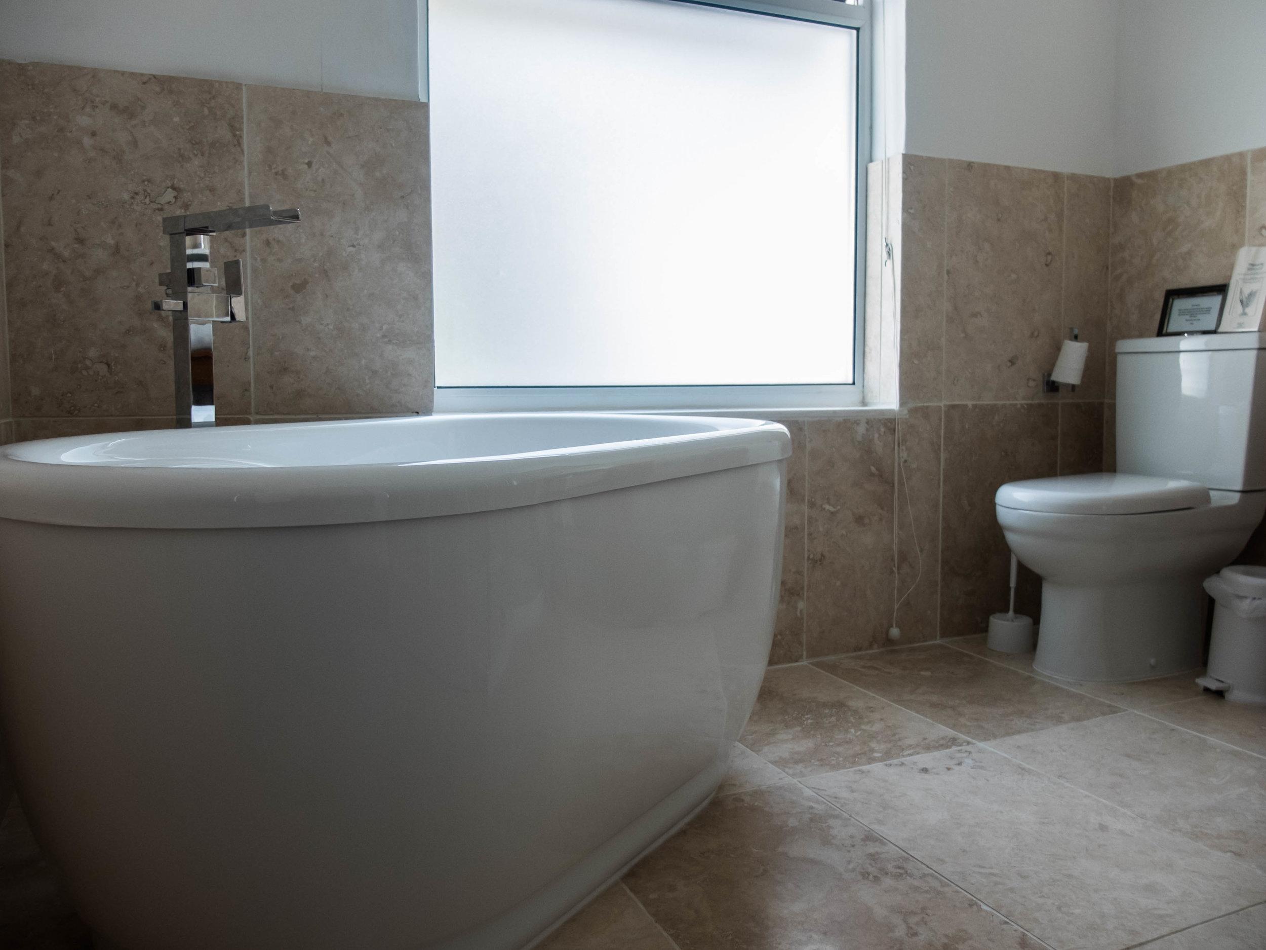 Modern bathroom at Hafod Wen Cottage