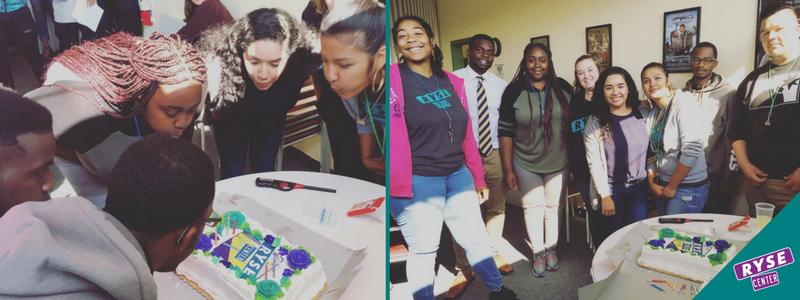 10/18/17 Former Youth Members now RYSE Staff blow out the candles on RYSE Center's birthday cake.   Pictured on the right, from left to right: Nyabingha Zianni (Creative & Healing Arts Assistant), Destiny Iwuoma (College Access Coordinator), Gemikia Henderson (Video Production Coordinator), Alisha Murdock (Youth Justice Program Manager), Mónica Díaz (Administrative Manager), Dalia Ramos (Member Engagement Coordinator), TJ Sykes (Youth Justice Program Assistant), and Jaime Mendoza (Member Engagement Assistant).