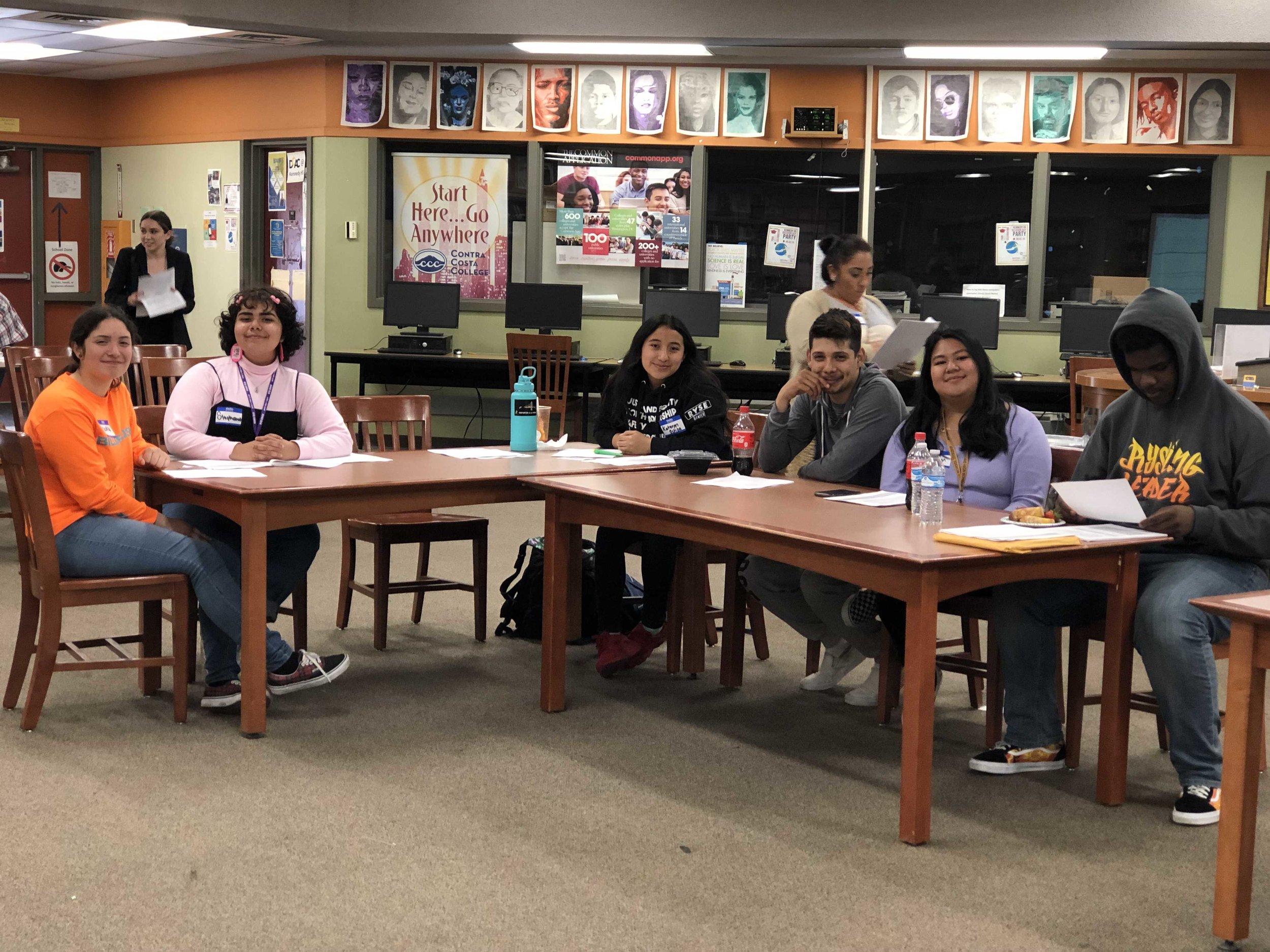 LCAP Interns attending school district meeting