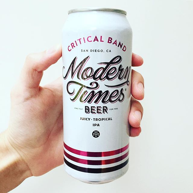 Modern Times - Critical Band. A truly essential IPA with wave after wave of juicy goodness! 🌊 🍊🍋🍍 We don't really have many rules when it comes to craft beer. But when we see some fresh Modern Times make it's way over to the UK - we buy it. And, Critical Band is brilliantly tropical proof that sometimes rules can be fun. 🌴  Citrus Jam-packed with Denali, Ekuanot, Simcoe, Centennial (and you guessed it) Citra hops, it's a pale whirlwind of resinous fruit. There's tons of grapefruit, in particular, though no hopburn to speak of alongside an undercurrent of sweet mango. It's kind of an outrageously warm, soft beer - the kind you look down and you've finished it. Oh boy we miss you already Critical Band, please come back to us... 📲 Read more at     drunknoise.com 📝  #craftbeer #beer #craftbeerporn #craftbeerlover #beeroftheday #instabeer #beernerd #craftbrew #hops #beertography #craftbeerlife #craftnotcrap #beergram #drinkcraft #beersnob #cheers #hophead #craftale #craftbeernotcrapbeer #drinkcraftbeer #neipa #ipa #indiapaleale #packaging #Øl #sandiego #moderntimes #moderntimesbeer