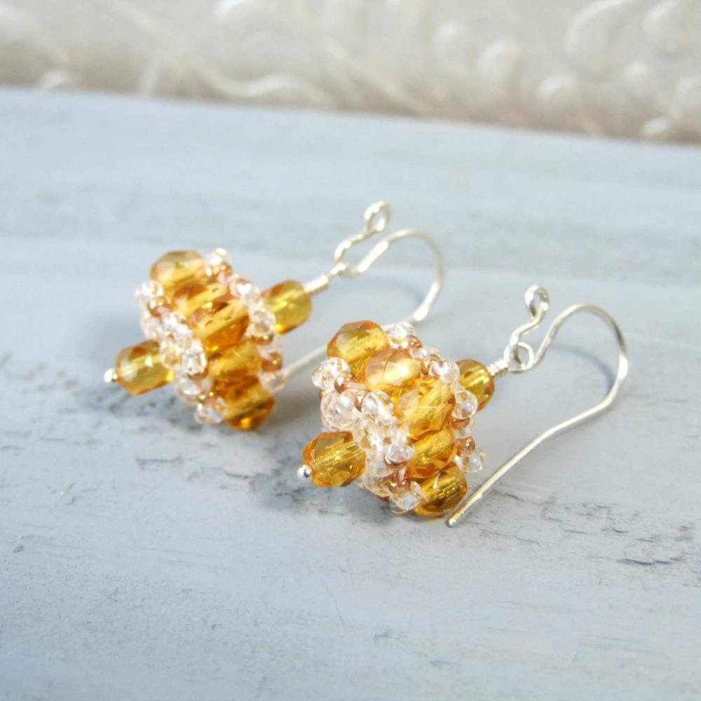 Honey Yellow Czech Glass Drop Earrings