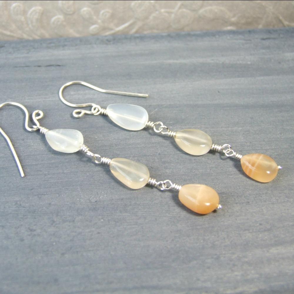 White & Peach Moonstone Ombre Dangle Earrings