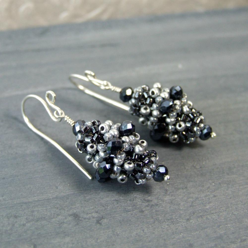 Victorian Grey Glass Beaded Earrings