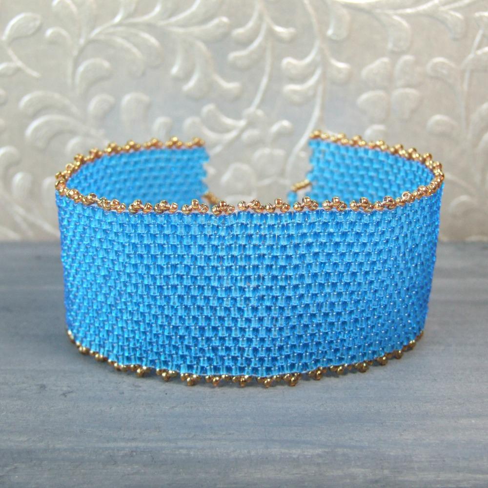 Blue & Golden Woven Seed Bead Cuff Bracelet