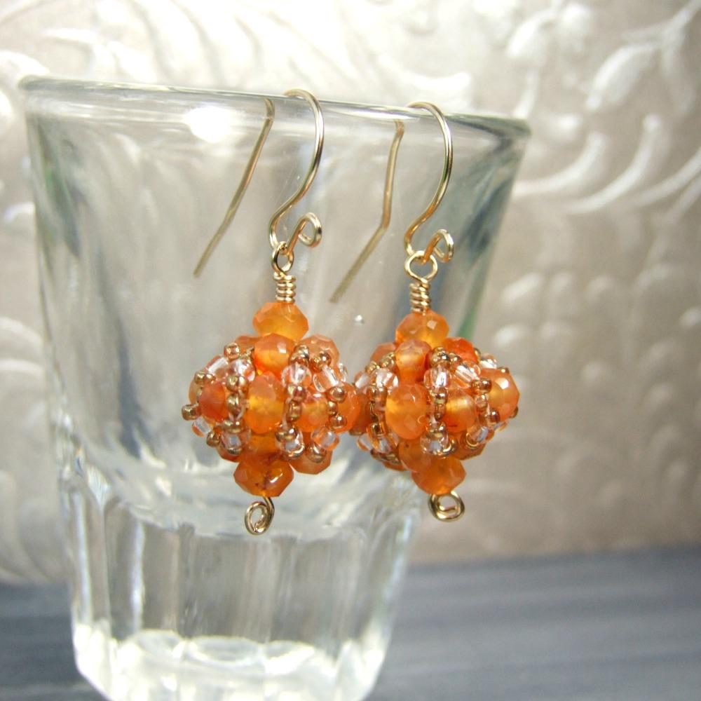 Gold Filled Carnelian Beadwork Drop Earrings