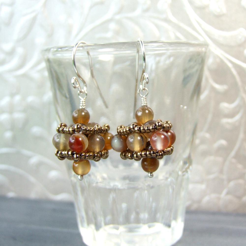 Brown Agate Beaded Drop Earrings
