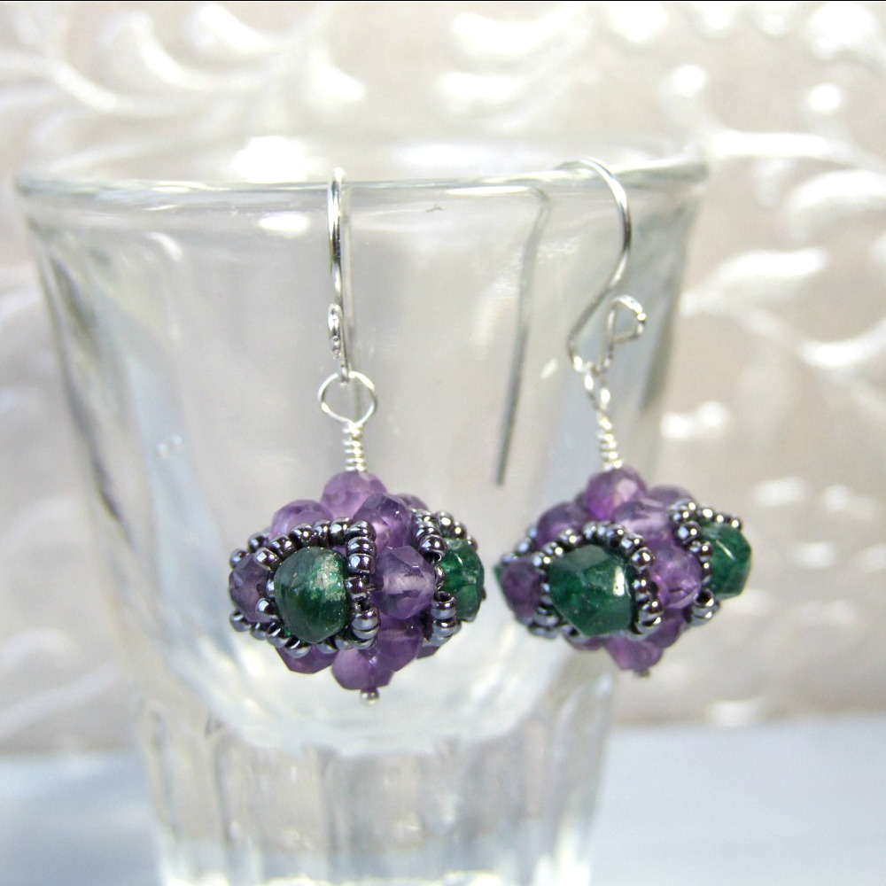 Amethyst & Aventurine Sterling Silver Bauble Earrings