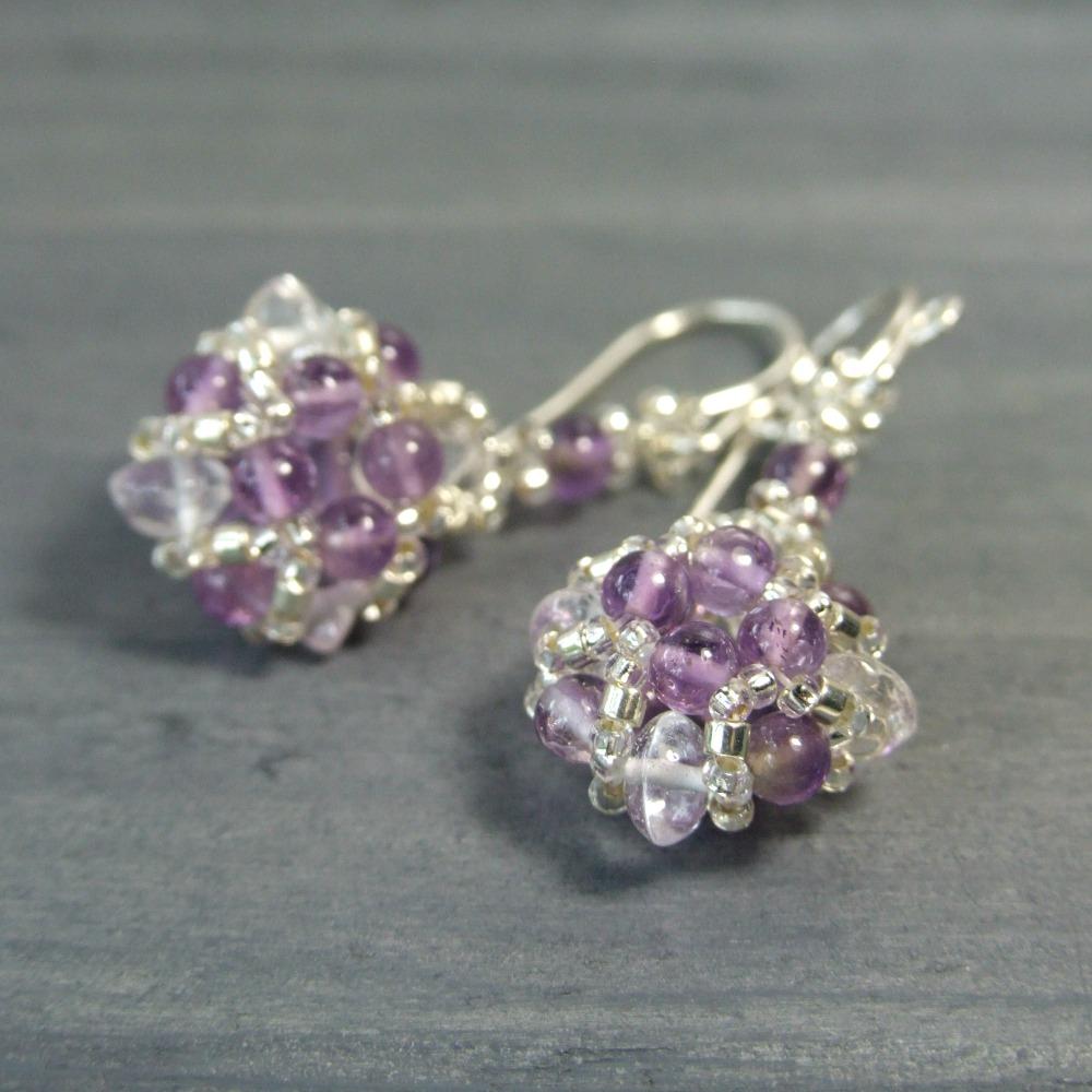 Quartz Crystal & Amethyst Earrings