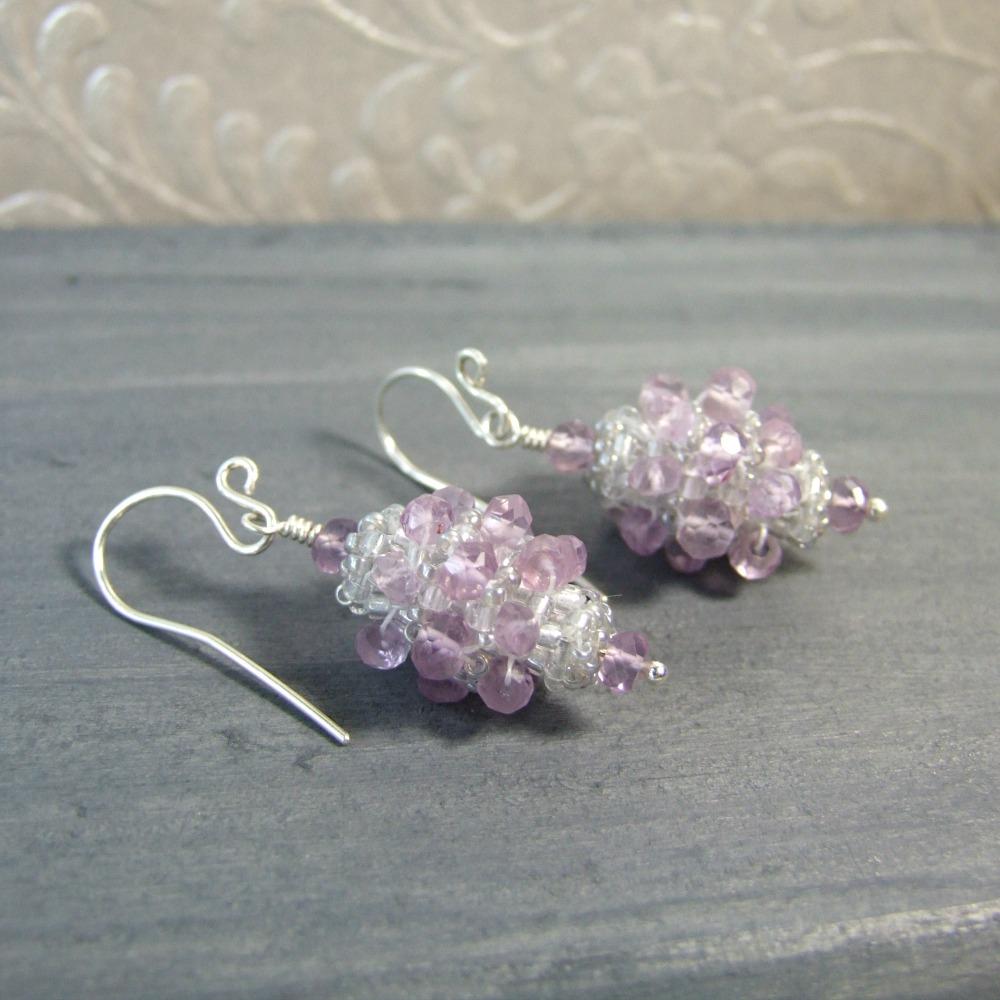 Victorian Beadwork Lavender Amethyst Earrings