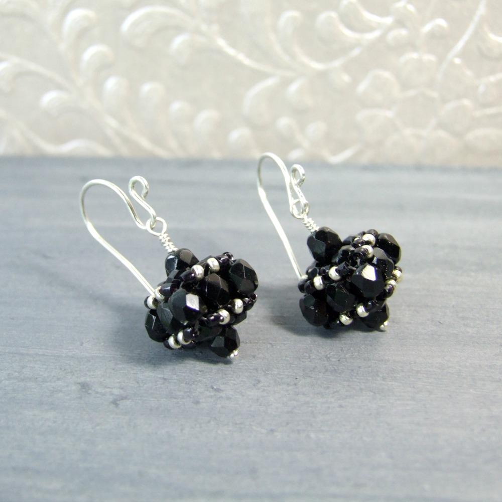 Small Black Czech Glass Vintage Style Earrings