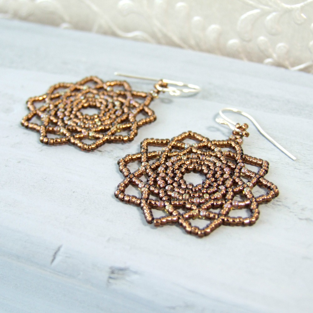 Bohemian Brown Mandala Earrings
