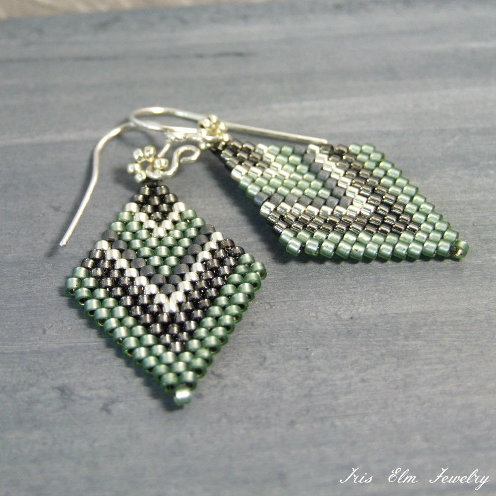 Sage Green Diamond Boho Earrings