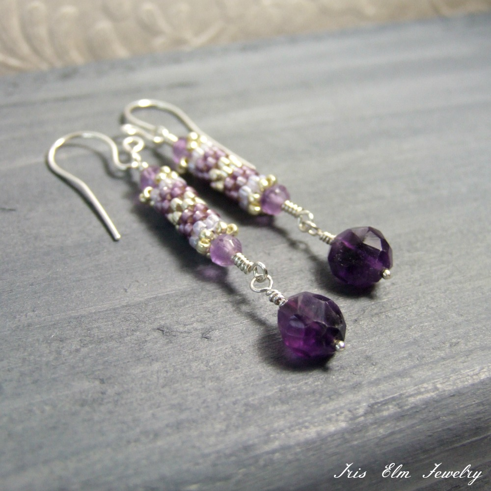 Unique Beaded Amethyst Dangle Earrings