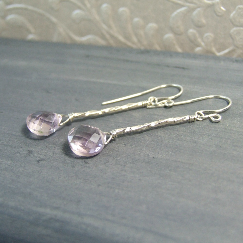 Pink Amethyst Sterling Earrings