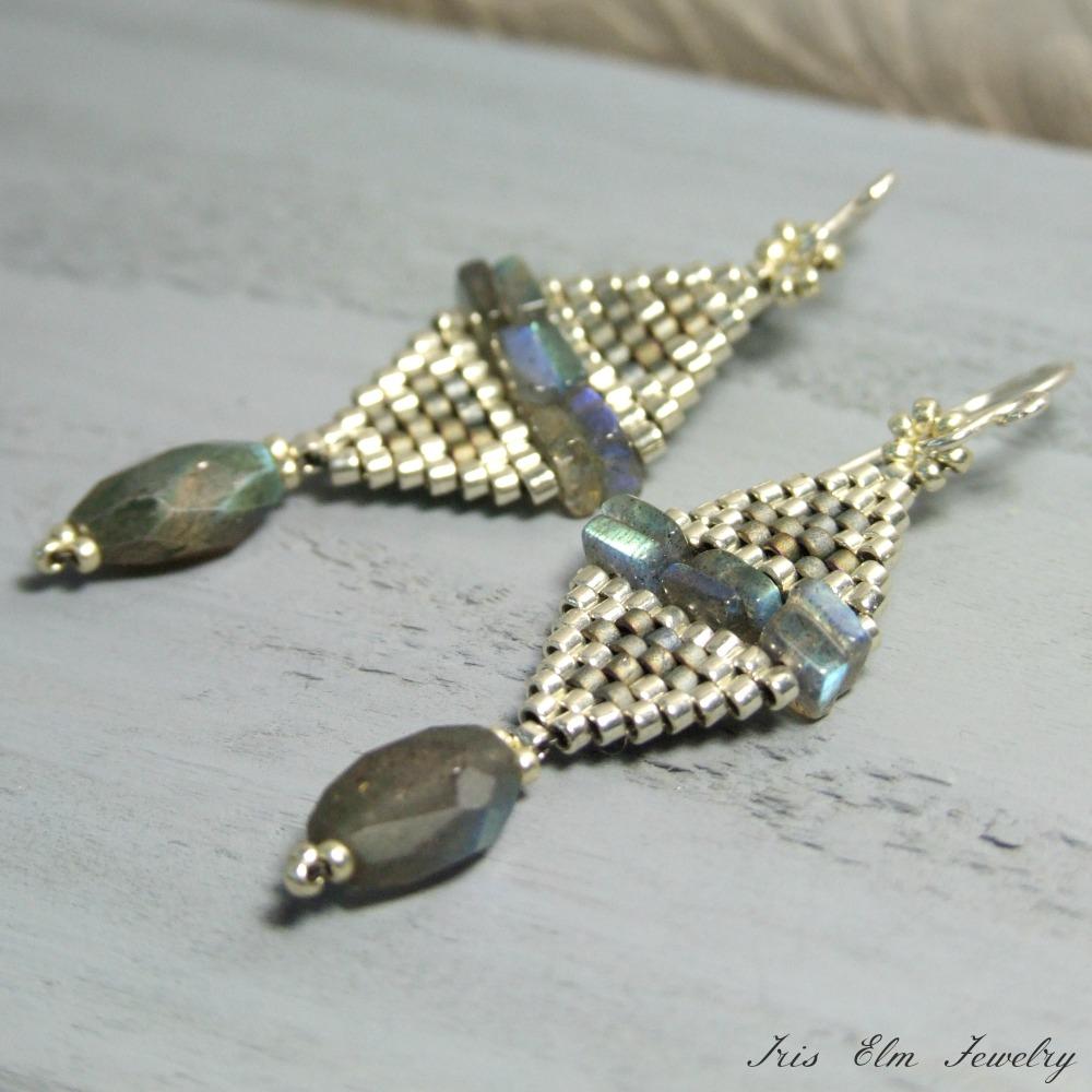 Unique Labradorite Beaded Diamond Earrings