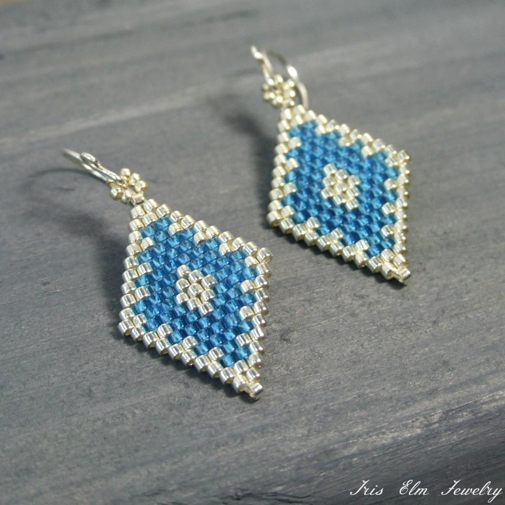 Small Blue & Silver Diamond Glass Earrings