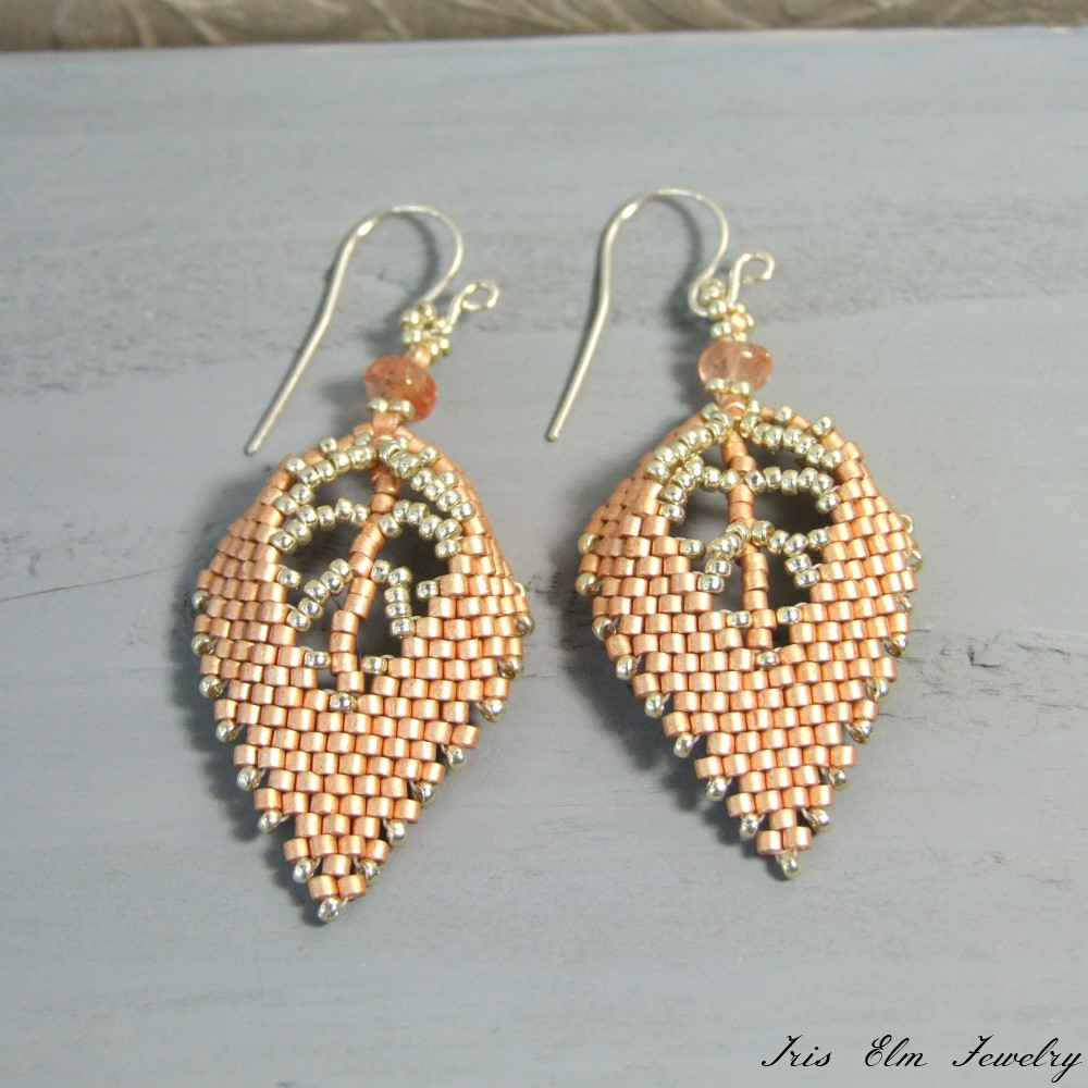 Copper Beaded Sunstone Leaf Earrings