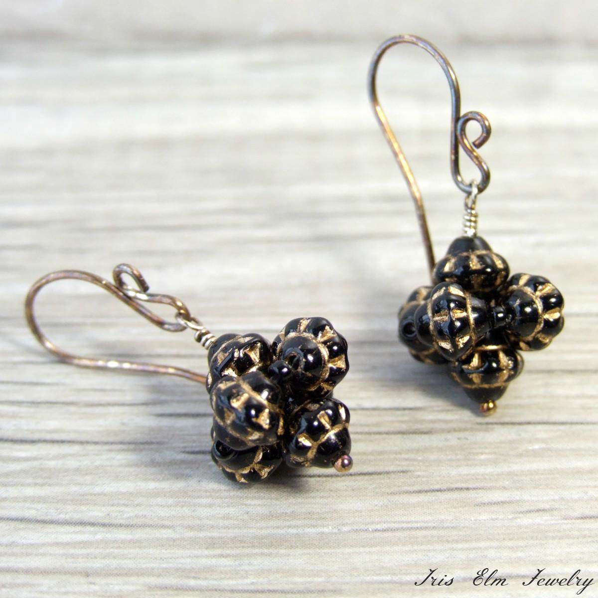 Black Glass Oxidized Sterling Drop Earrings