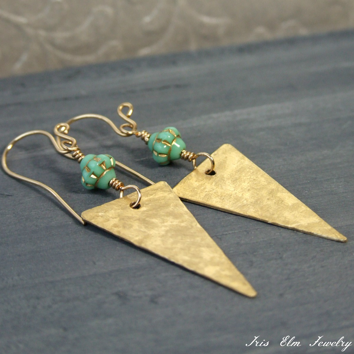 Gold Glass & Mint Green Glass Triangle Metalwork Earrings
