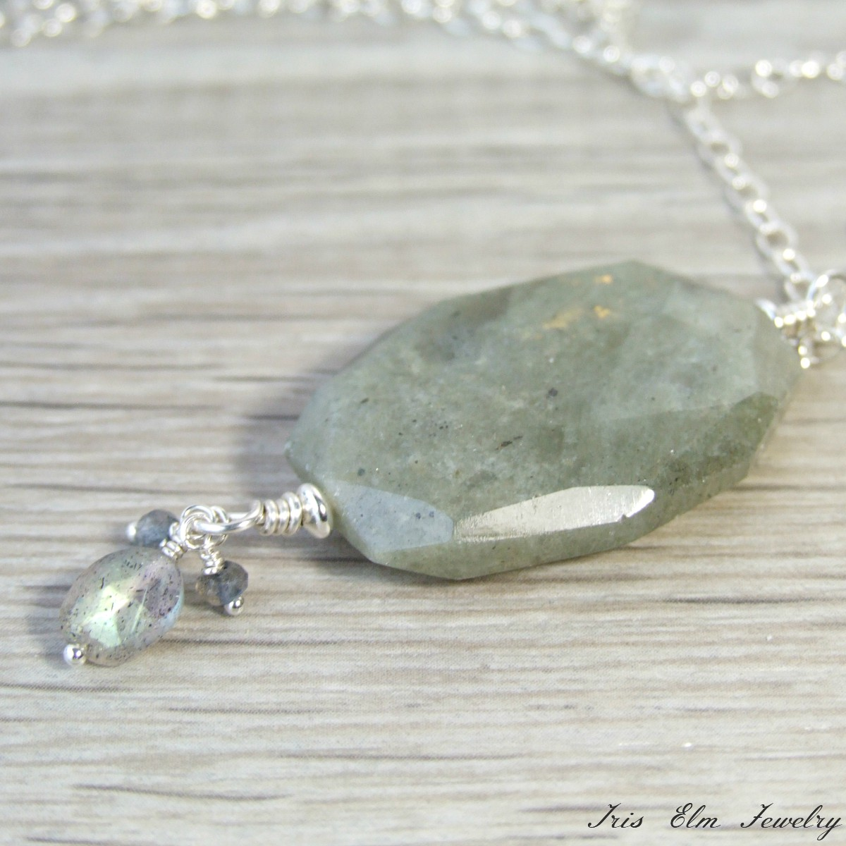 Sterling Silver Labradorite Gemstone Pendant Necklace