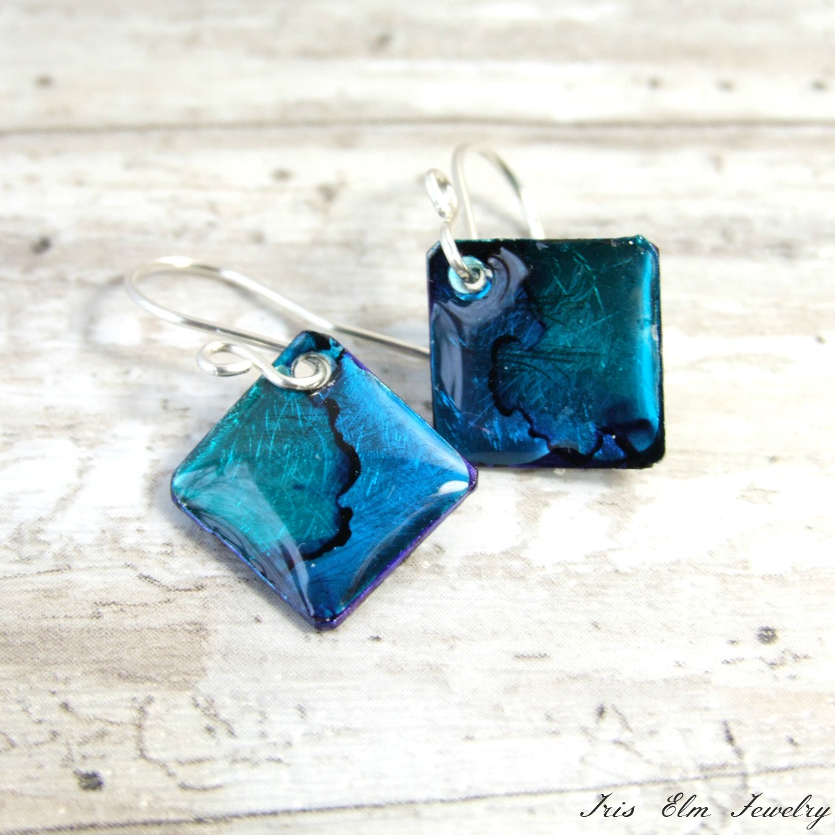 Small Blue Metal Resin Earrings