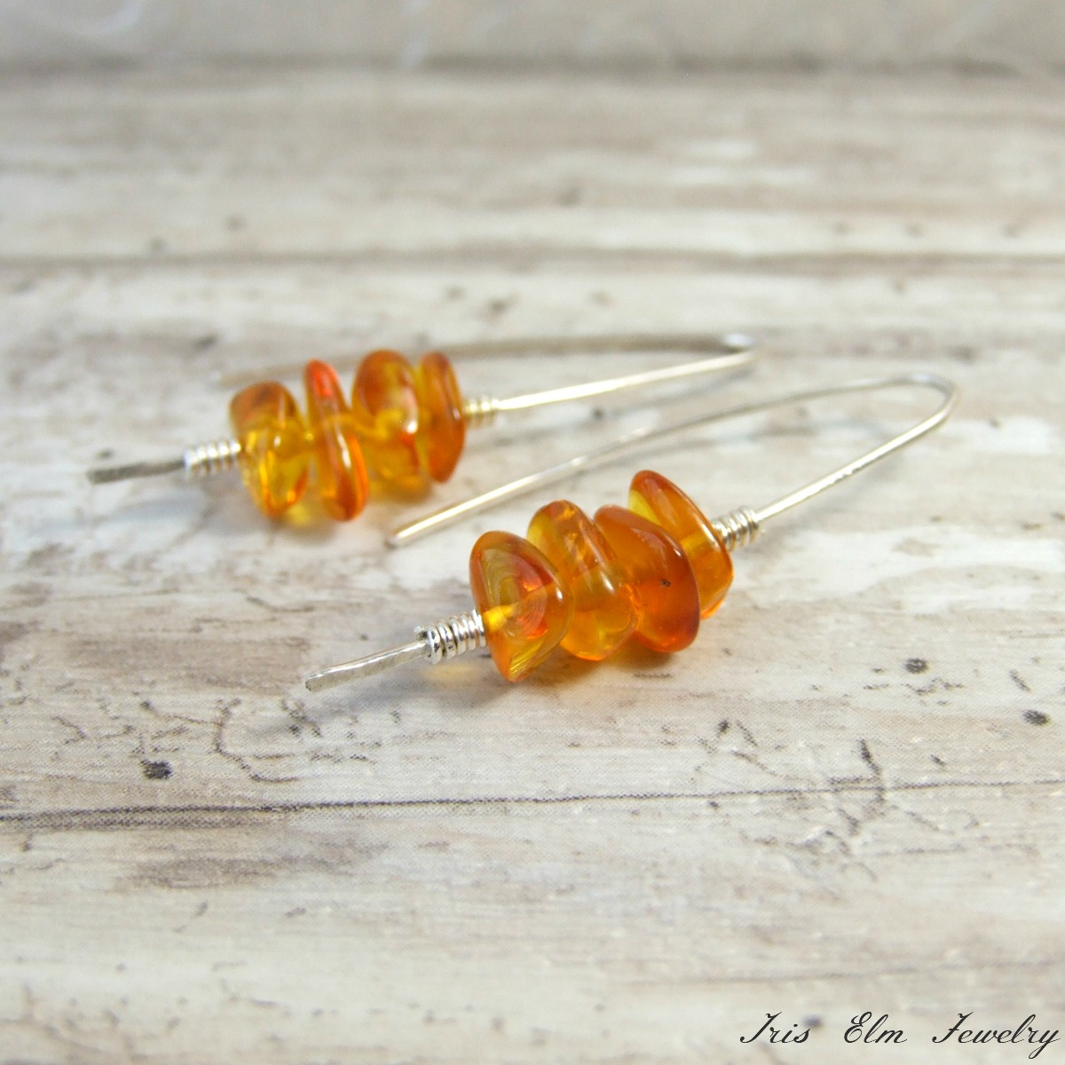 Modern Amber Sterling Silver Earrings